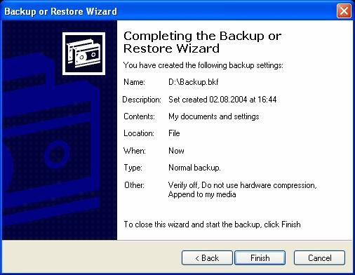 Windows (Microsoft) Backup  Windows built-in backup utility